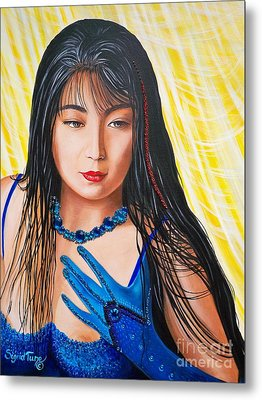 Metal Print featuring the mixed media Crystal Blue China Girl by Sigrid Tune