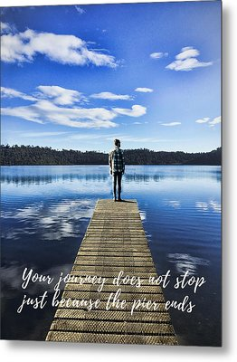 Crystal Blue Lake Pier And Person Journey Metal Print by Elaine Plesser