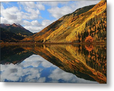 Metal Print featuring the photograph Crystal Lake Autumn Reflection by Jetson Nguyen