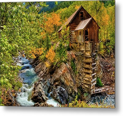 Crystal Mill Fall Colors Metal Print