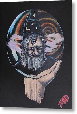 Metal Print featuring the drawing Crystal Wizard by Michael  TMAD Finney
