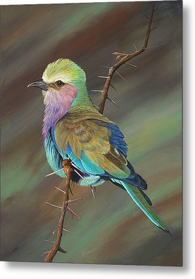 Metal Print featuring the painting Crystal's Bird by AnnaJo Vahle