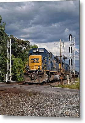 Csx Train Headed West Metal Print by Pamela Baker