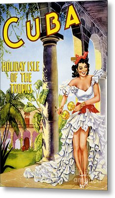 Cuba Holiday Isle Of The Tropics Vintage Poster Metal Print by Carsten Reisinger
