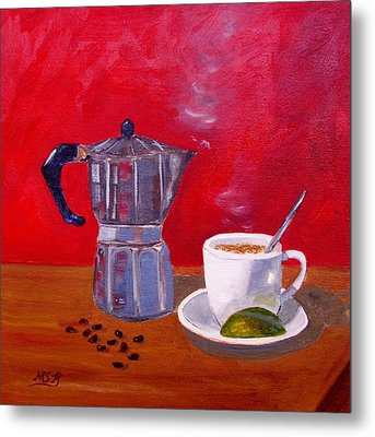 Cuban Coffee Beans And Lime Metal Print by Maria Soto Robbins