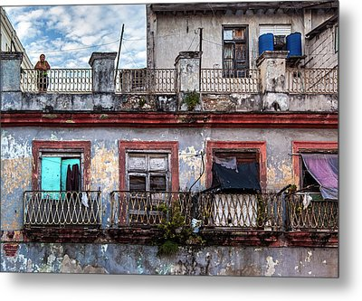 Metal Print featuring the photograph Cuban Woman At Calle Bernaza Havana Cuba by Charles Harden