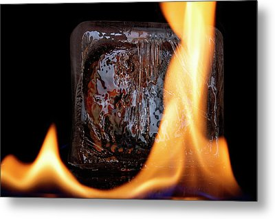 Metal Print featuring the photograph Cube On Fire by Rico Besserdich