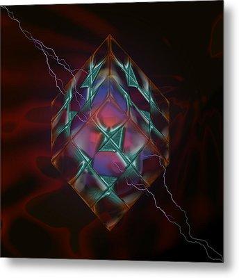 Cube With Thunders 01 Metal Print by Aleksandar Zisovski