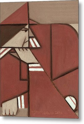 Metal Print featuring the painting Cubism Pete Rose Art Print by Tommervik