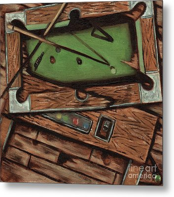 Metal Print featuring the painting Cubism Pool Table Billiard Art Print by Tommervik