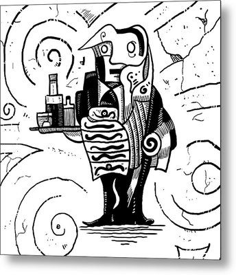 Cubist Waiter Metal Print by Sotuland Art