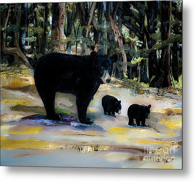 Cubs With Momma Bear - Dreamy Version - Black Bears Metal Print