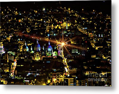 Metal Print featuring the photograph Cuenca's Historic District At Night by Al Bourassa