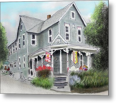 Metal Print featuring the drawing Cup A Joes Coffee Shop by Albert Puskaric