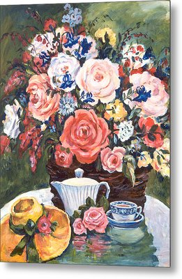 Cup And Saucer Metal Print by Alexandra Maria Ethlyn Cheshire