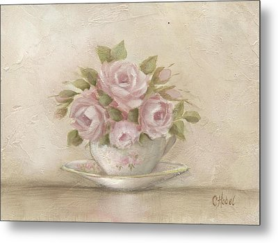Cup And Saucer  Pink Roses Metal Print by Chris Hobel
