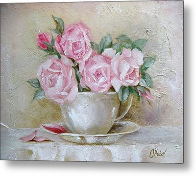 Metal Print featuring the painting Cup And Saucer Roses by Chris Hobel