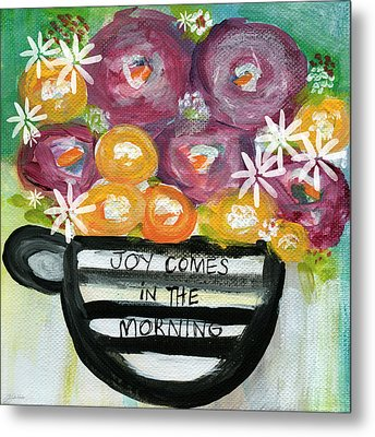 Cup Of Joy 2- Contemporary Floral Painting Metal Print by Linda Woods