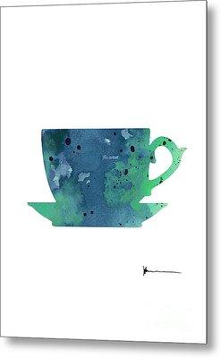 Cup Of Tea Painting Watercolor Art Print Metal Print by Joanna Szmerdt