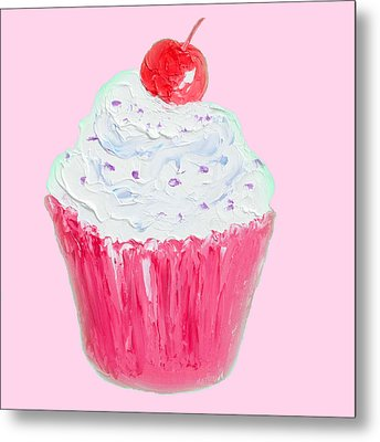 Cupcake Painting On Pink Background Metal Print by Jan Matson