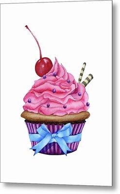Cupcake Watercolor Metal Print by Taylan Apukovska