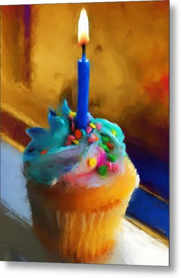 Cupcake With Candle Metal Print