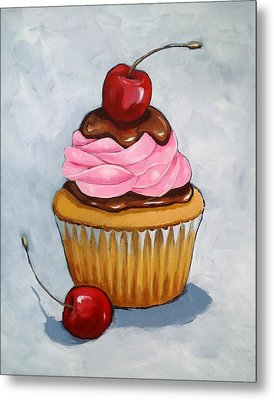 Cupcake With Cherries Metal Print by Joyce Geleynse