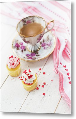 Metal Print featuring the photograph Cupcakes And Coffee by Rebecca Cozart