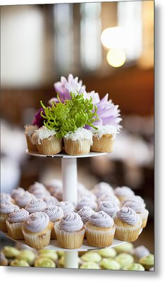Cupcakes On Stand Metal Print by Ikonica