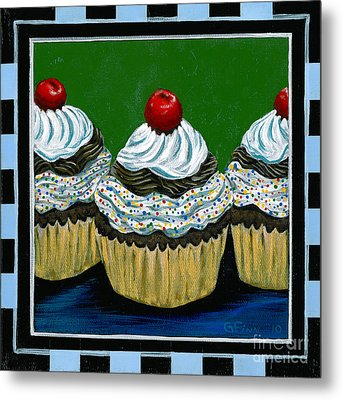 Cupcakes With A Cherry On Top Metal Print