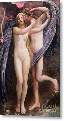 Cupid And Psyche Metal Print by Annie Louisa Swynnerton