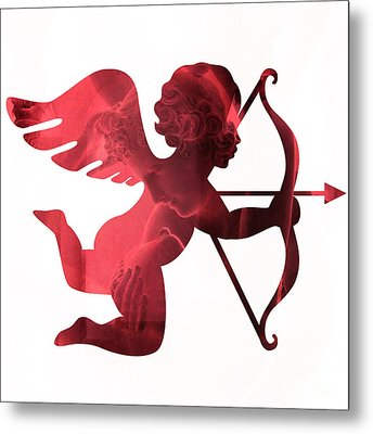 Cupid Psyche Valentine Art - Eros Psyche Valentine Cupid With Arrow Print - Red Valentine Art  Metal Print by Kathy Fornal