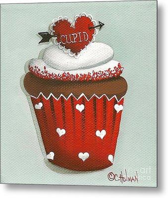 Cupid's Arrow Valentine Cupcake Metal Print by Catherine Holman