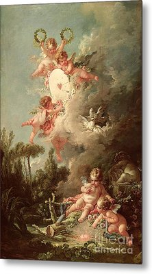 Cupids Target Metal Print by Francois Boucher