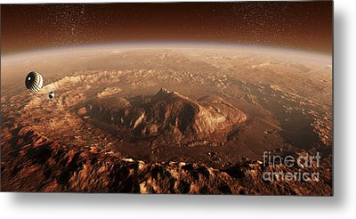 Curiosity Rover Descending Into Gale Metal Print