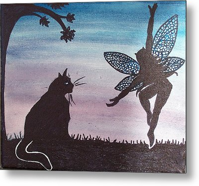 Curious Cat Metal Print by Amy Lauren Gettys