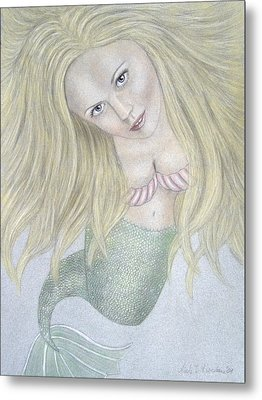 Curious Mermaid - Graphite And Colored Pastel Chalk Metal Print by Nicole I Hamilton