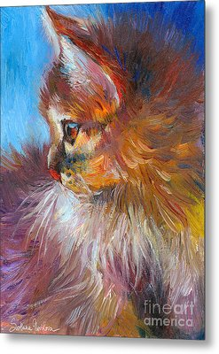 Curious Tubby Kitten Painting Metal Print