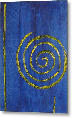 Curlicue Yellow Metal Print by Roger Cummiskey