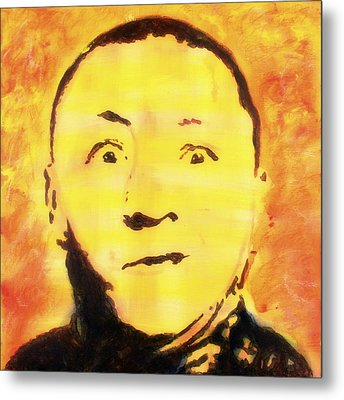 Metal Print featuring the painting Curly Howard Three Stooges Pop Art by Bob Baker
