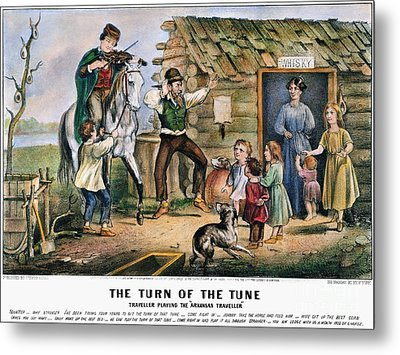 Currier  Ives Folk Tradition Metal Print by Granger