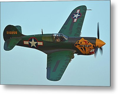 Metal Print featuring the photograph Curtiss P-40k Warhawk N401wh Chino California April 29 2016 by Brian Lockett
