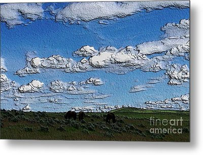 Metal Print featuring the photograph Custer's Horses 1 by Erica Hanel