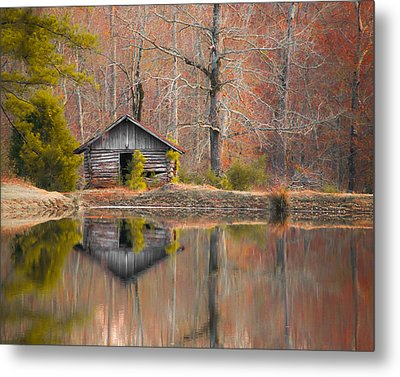 Custom Crop - Cabin By The Lake Metal Print by Shelby  Young
