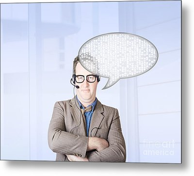 Customer Service Man Talking Through Speech Icon Metal Print by Jorgo Photography - Wall Art Gallery