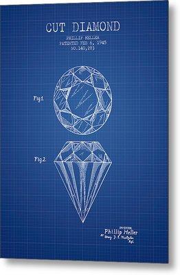 Cut Diamond Patent From 1873 - Blueprint Metal Print