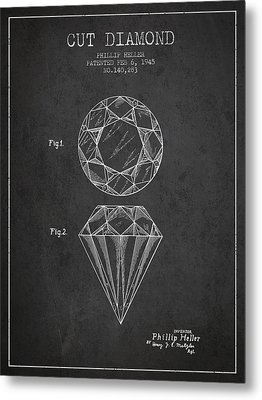 Cut Diamond Patent From 1873 - Charcoal Metal Print by Aged Pixel