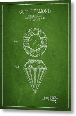 Cut Diamond Patent From 1873 - Green Metal Print by Aged Pixel