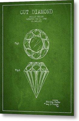 Cut Diamond Patent From 1873 - Green Metal Print