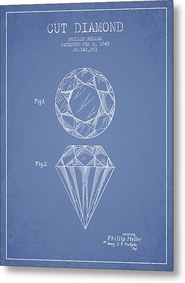 Cut Diamond Patent From 1873 - Light Blue Metal Print by Aged Pixel